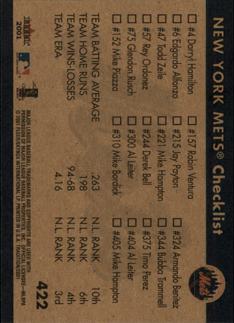 2001 Fleer Tradition #422 New York Mets CL back image