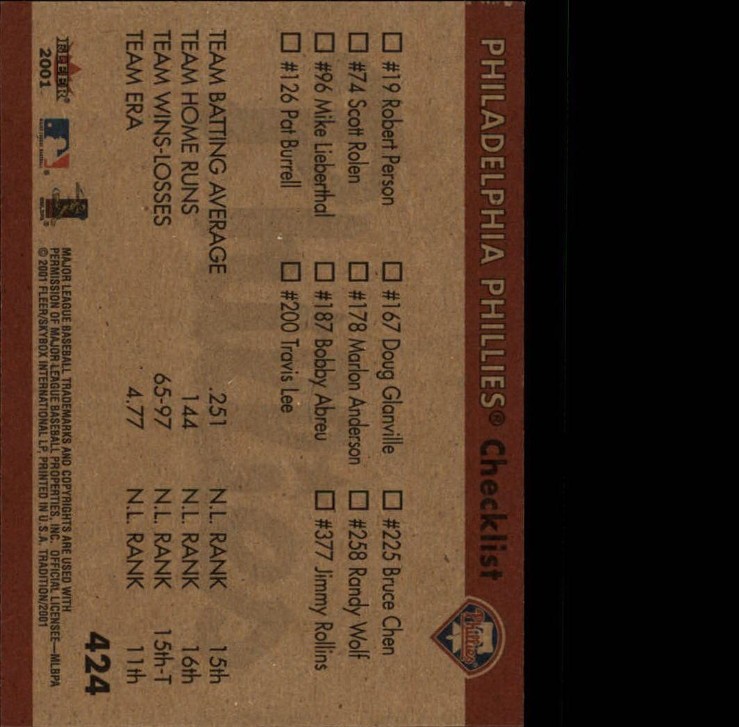 2001 Fleer Tradition #424 Philadelphia Phillies CL back image