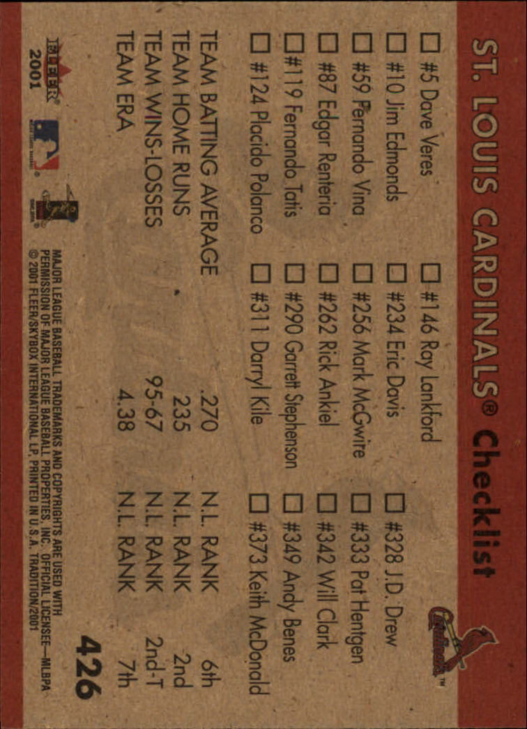 2001 Fleer Tradition #426 St. Louis Cardinals CL back image