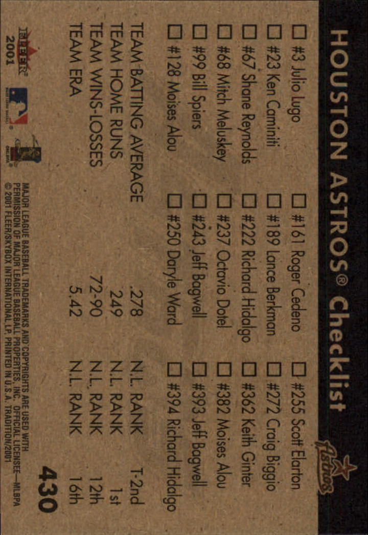 2001 Fleer Tradition #430 Houston Astros CL back image