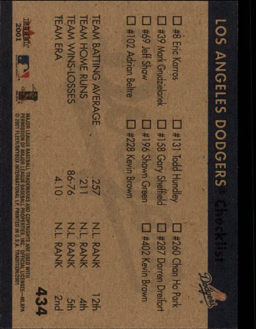 2001 Fleer Tradition #434 Los Angeles Dodgers CL UER back image