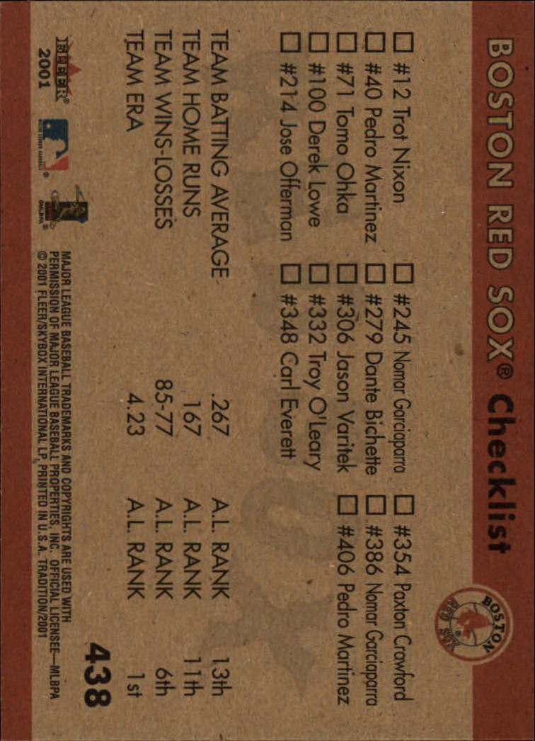2001 Fleer Tradition #438 Boston Red Sox CL back image