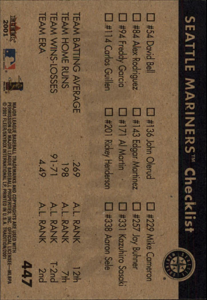 2001 Fleer Tradition #447 Seattle Mariners CL back image