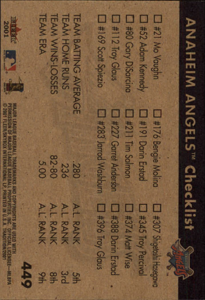 2001 Fleer Tradition #449 Anaheim Angels CL back image