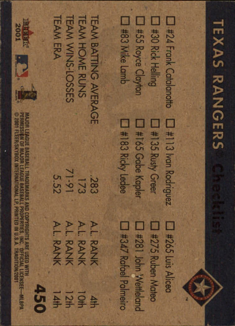 2001 Fleer Tradition #450 Texas Rangers CL back image