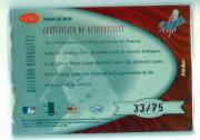 2001 Leaf Certified Materials Mirror Red #135 Ricardo Rodriguez FF Fld Glv AU back image