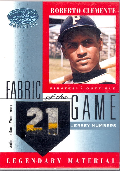 2001 Leaf Certified Materials Fabric of the Game #5CE Roberto Clemente/21