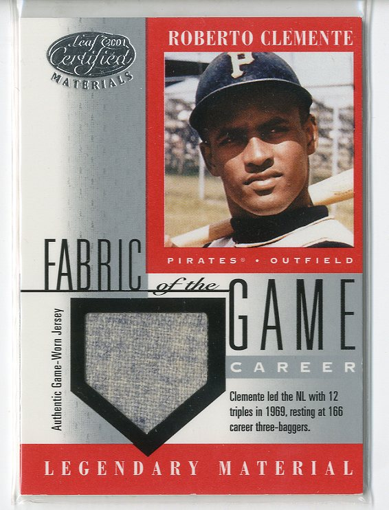 2001 Leaf Certified Materials Fabric of the Game #5CR Roberto Clemente/166