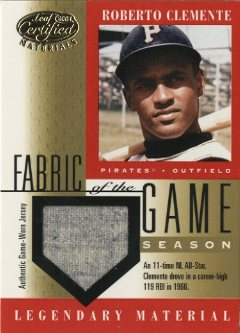 2001 Leaf Certified Materials Fabric of the Game #5SN Roberto Clemente/29