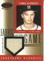 2001 Leaf Certified Materials Fabric of the Game #10BA Eddie Mathews SP