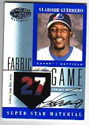 2001 Leaf Certified Materials Fabric of the Game #42JN Vlad Guerrero AU/27