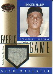 2001 Leaf Certified Materials Fabric of the Game #47BA Roger Maris