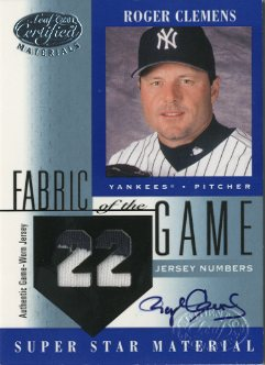 2001 Leaf Certified Materials Fabric of the Game #49JN Roger Clemens AU/22