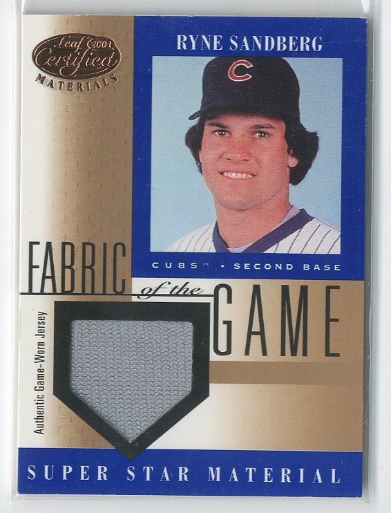 2001 Leaf Certified Materials Fabric of the Game #69BA Ryne Sandberg