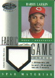 2001 Leaf Certified Materials Fabric of the Game #76CR Barry Larkin/300