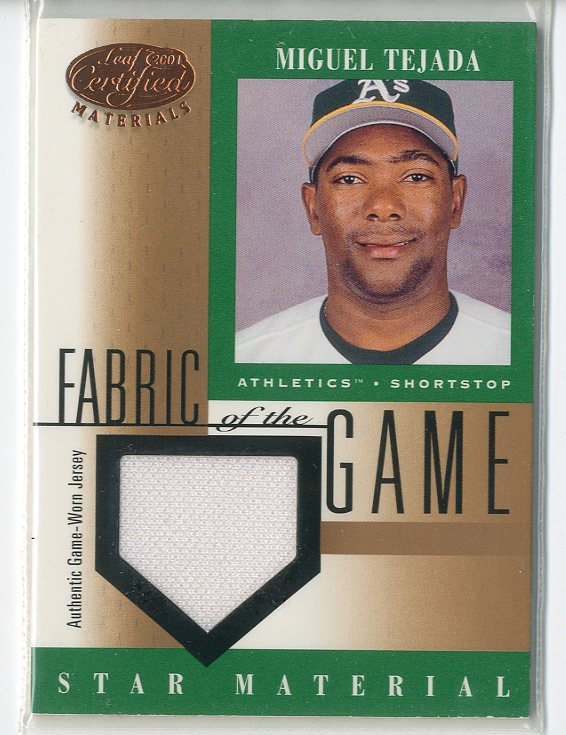 2001 Leaf Certified Materials Fabric of the Game #78BA Miguel Tejada