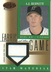 2001 Leaf Certified Materials Fabric of the Game #84BA A.J. Burnett