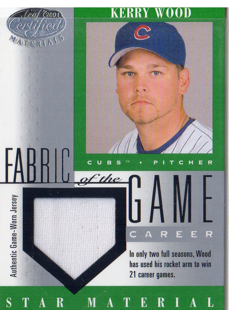 2001 Leaf Certified Materials Fabric of the Game #87CR Kerry Wood/21