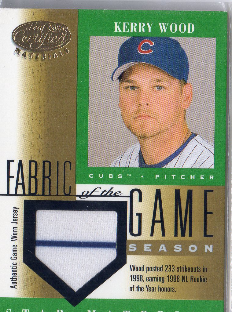 2001 Leaf Certified Materials Fabric of the Game #87SN Kerry Wood/233