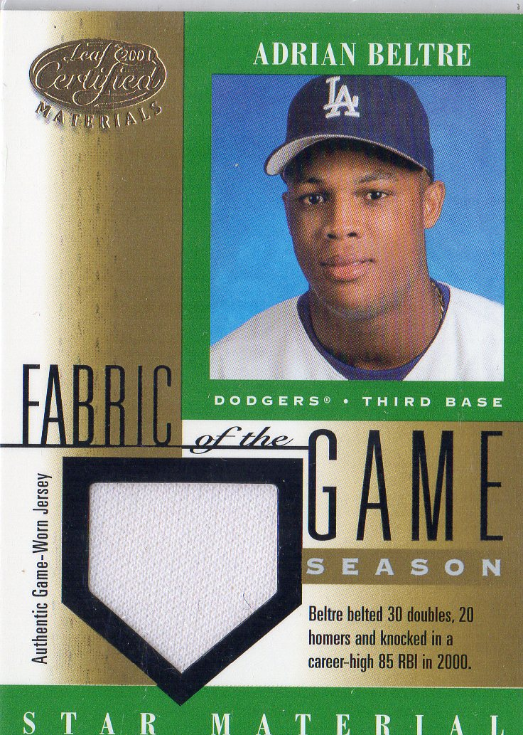 2001 Leaf Certified Materials Fabric of the Game #104SN Adrian Beltre/85