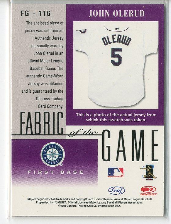2001 Leaf Certified Materials Fabric of the Game #116BA John Olerud back image