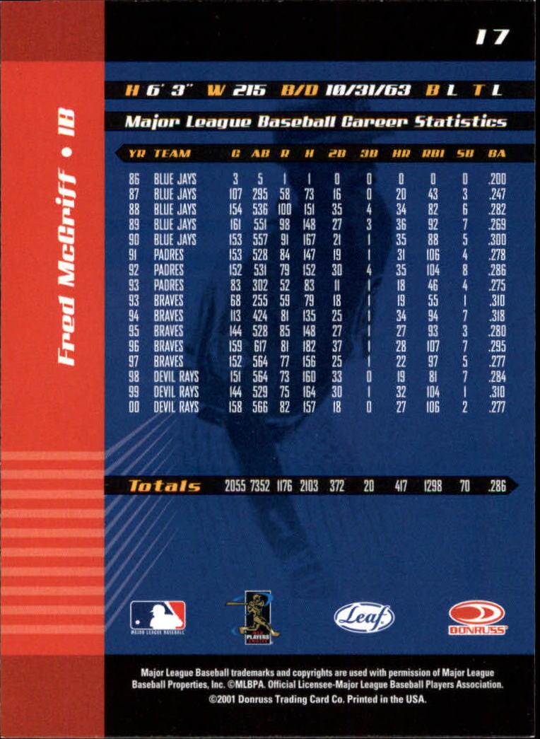 2001 Leaf Limited #17 Fred McGriff back image