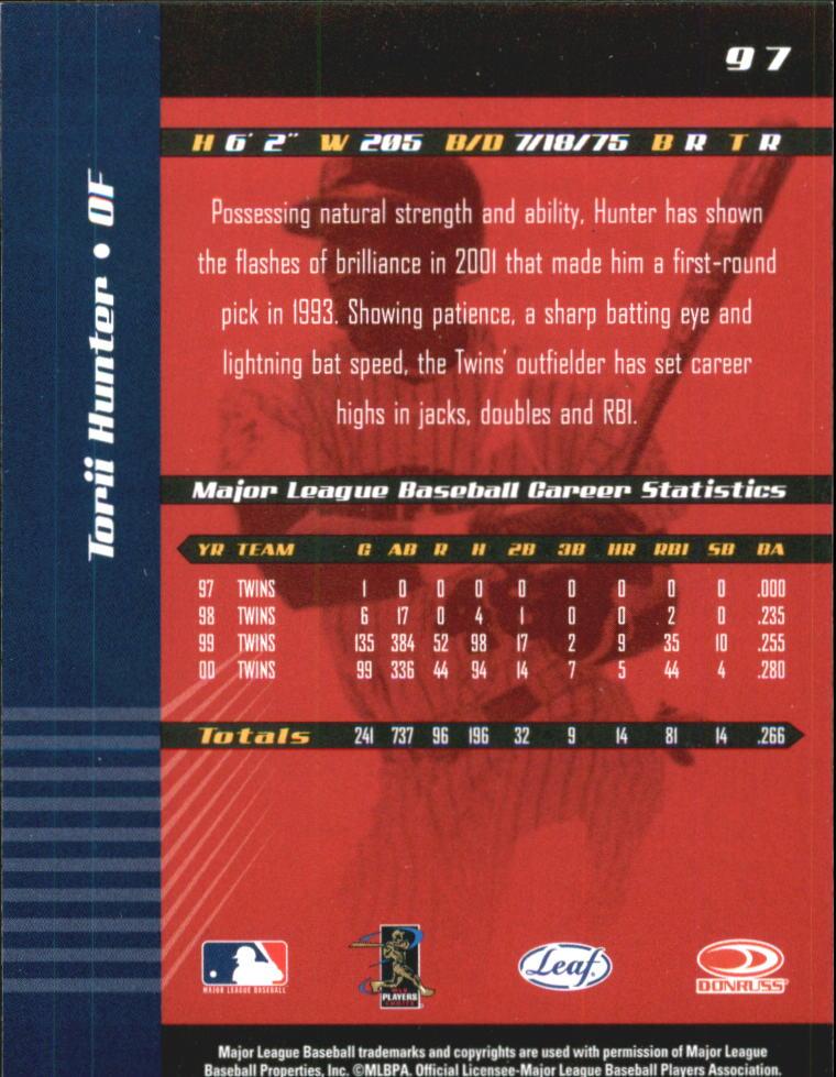 2001 Leaf Limited #97 Torii Hunter back image