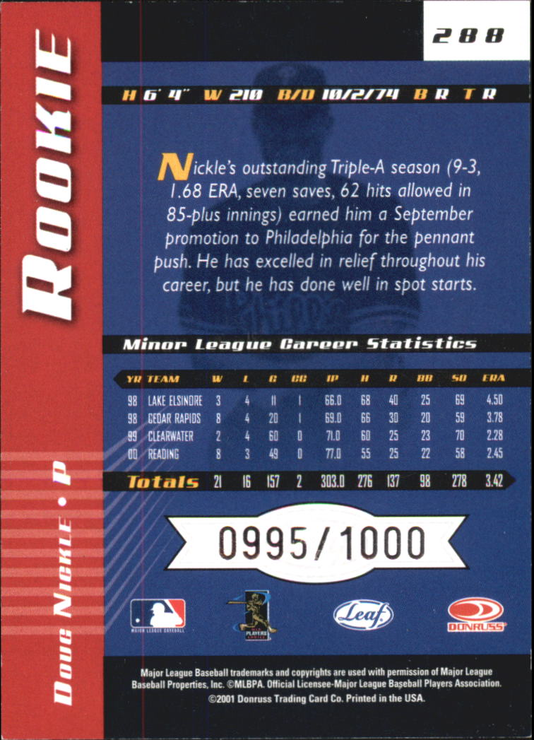 2001 Leaf Limited #288 Doug Nickle RC back image