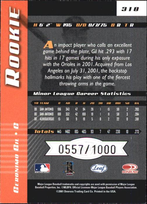 2001 Leaf Limited #318 Geronimo Gil AU RC back image