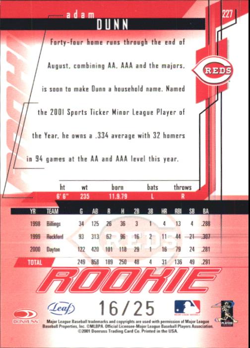 2001 Leaf Rookies and Stars Longevity #227 Adam Dunn back image