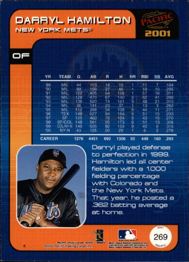 2001 Pacific #269 Darryl Hamilton back image