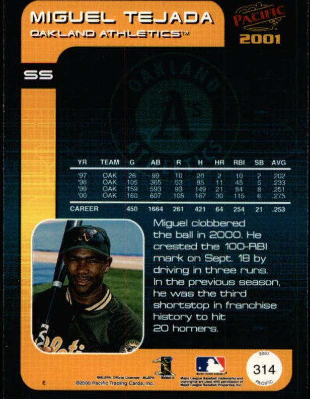 2001 Pacific #314 Miguel Tejada back image