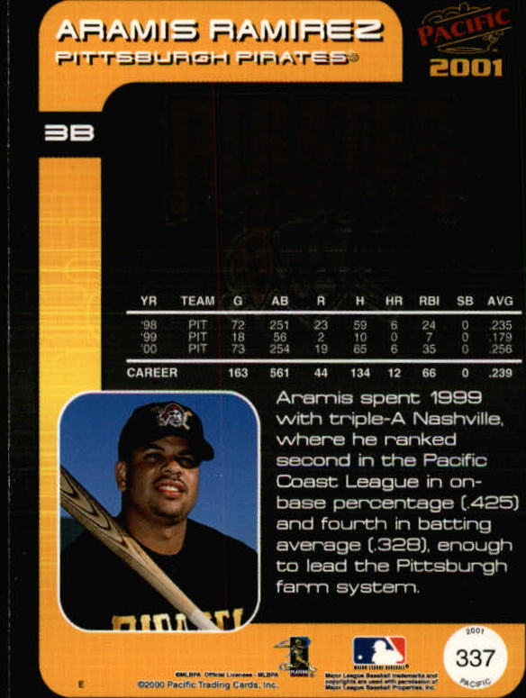 2001 Pacific #337 Aramis Ramirez back image