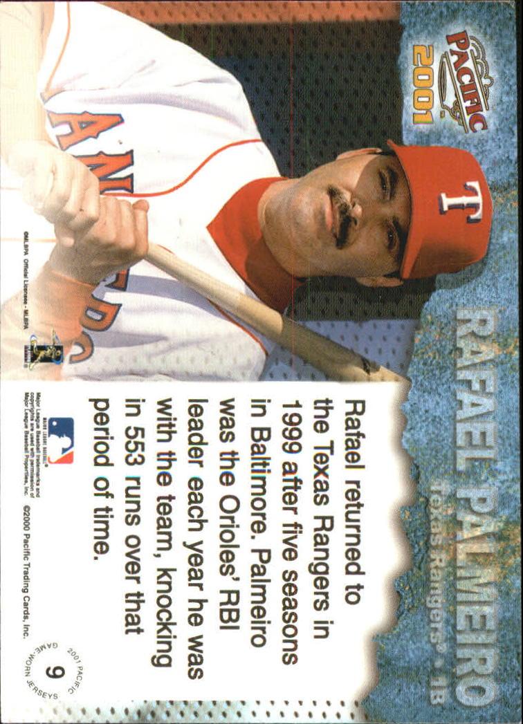 2001 Pacific Game Jersey #9 Rafael Palmeiro back image