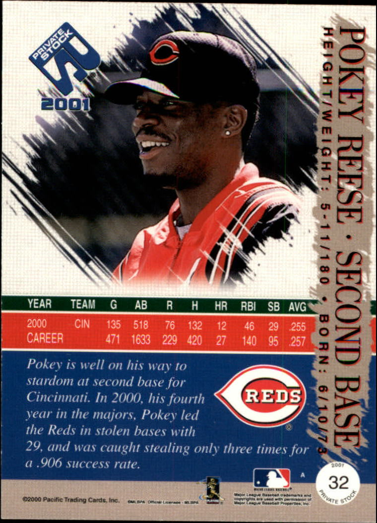 2001 Private Stock #32 Pokey Reese back image
