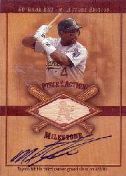 2001 SP Game Bat Milestone Piece of Action Autographs #SMT Miguel Tejada