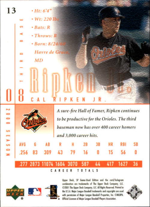 2001 SP Game Used Edition #13 Cal Ripken back image