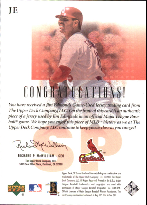 2001 SP Game Used Edition Authentic Fabric #JE Jim Edmonds DP back image