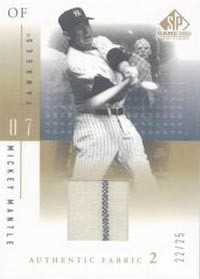 2001 SP Game Used Edition Authentic Fabric 2 #MM Mickey Mantle