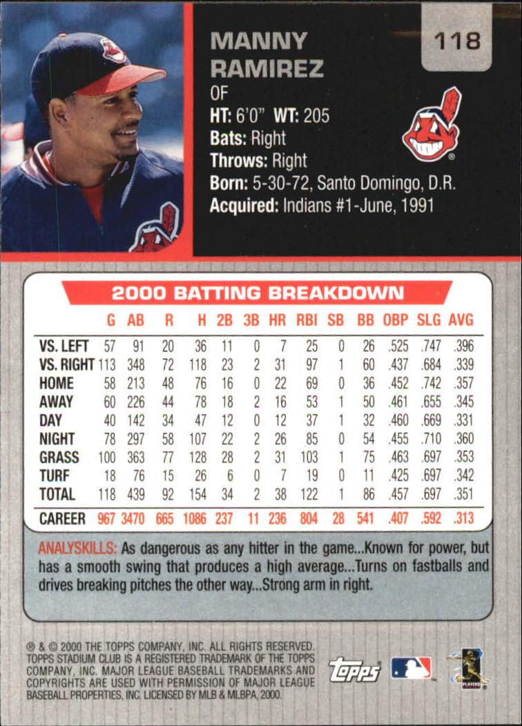 2001 Stadium Club #118 Manny Ramirez back image