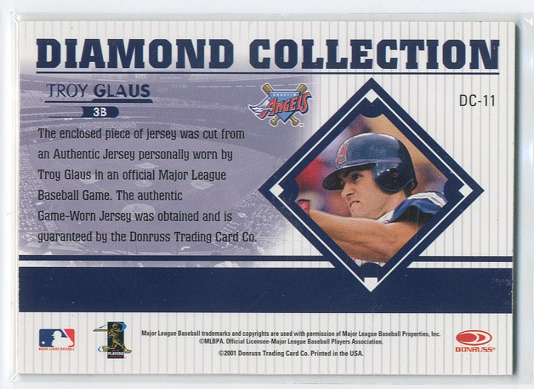 2001 Studio Diamond Collection #DC11 Troy Glaus back image