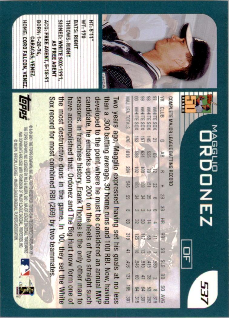 2001 Topps Employee #537 Magglio Ordonez back image