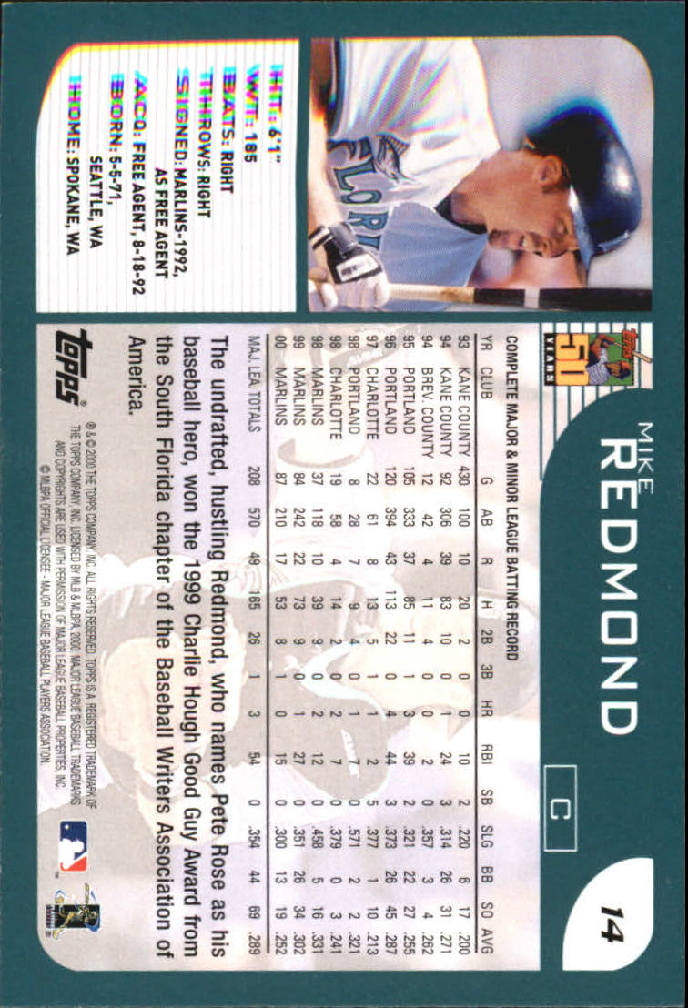 2001 Topps Home Team Advantage #14 Mike Redmond back image