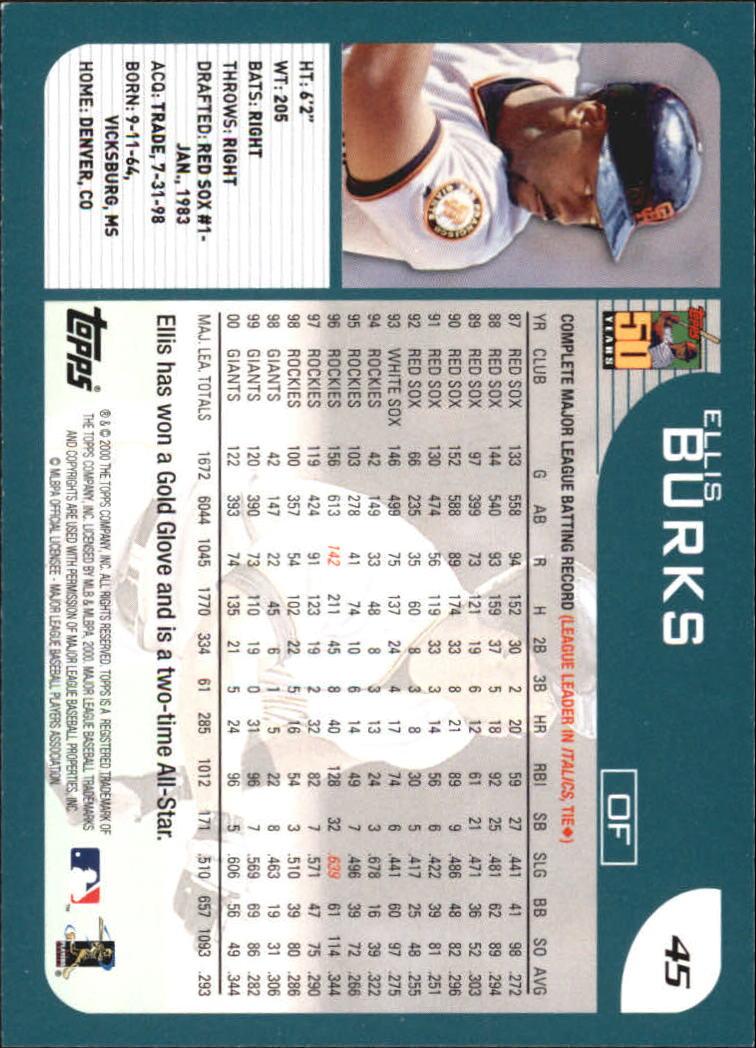 2001 Topps Home Team Advantage #45 Ellis Burks back image