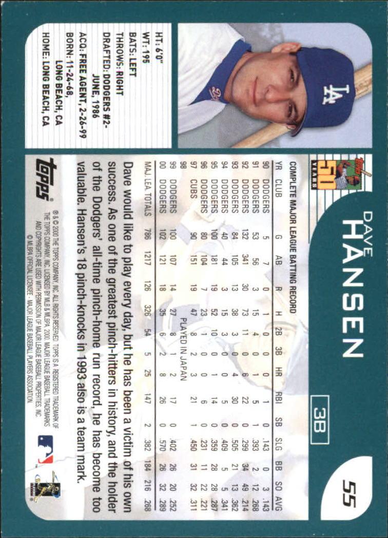 2001 Topps Home Team Advantage #55 Dave Hansen back image