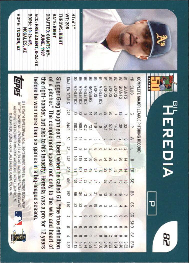 2001 Topps Home Team Advantage #82 Gil Heredia back image