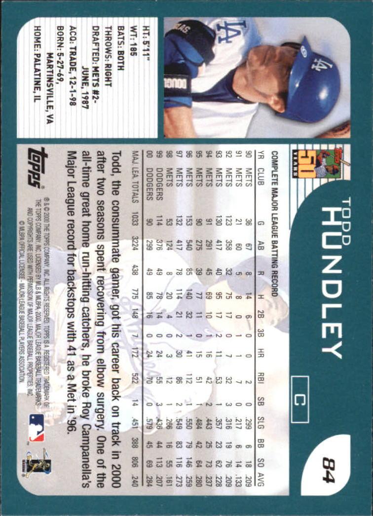 2001 Topps Home Team Advantage #84 Todd Hundley back image