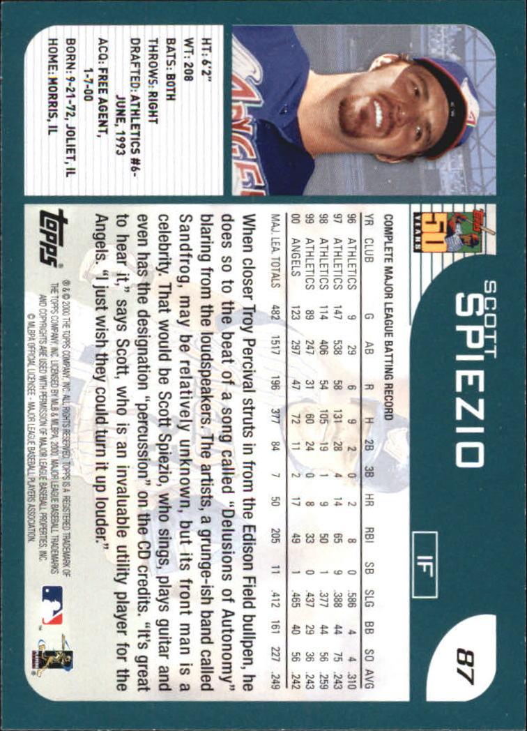2001 Topps Home Team Advantage #87 Scott Spiezio back image