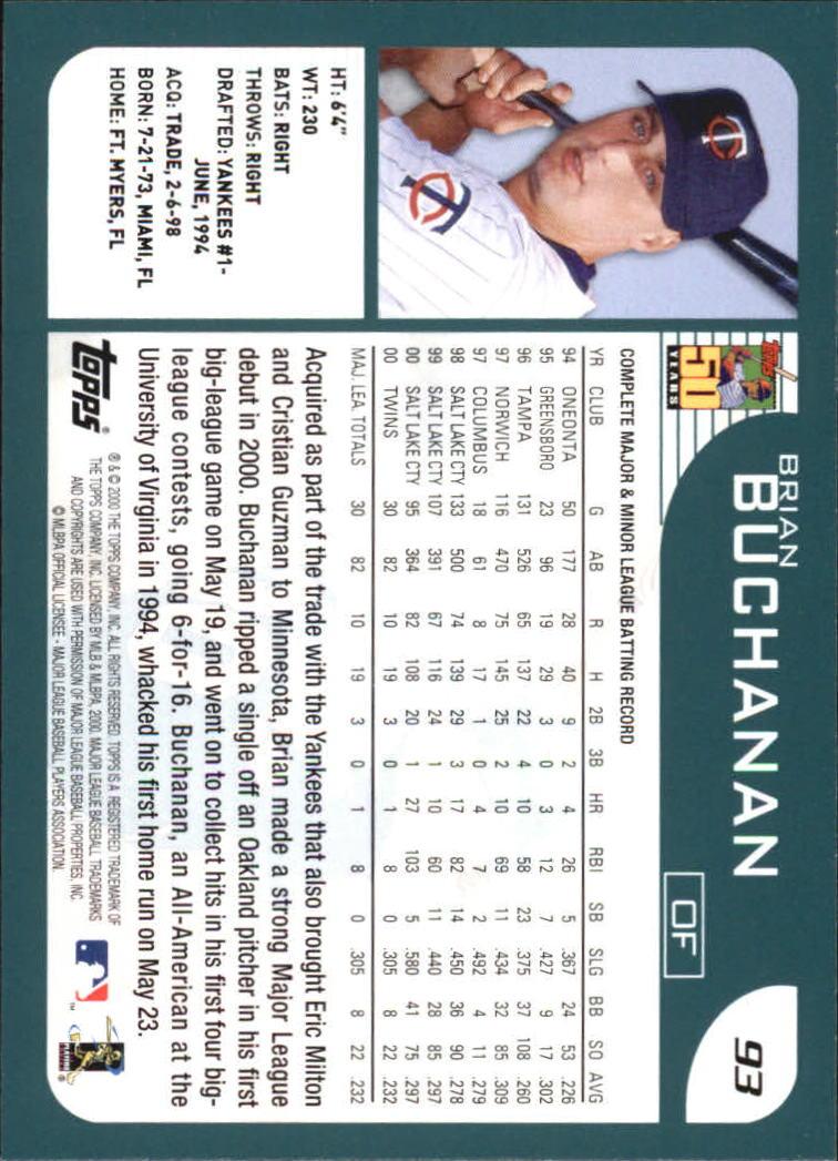 2001 Topps Home Team Advantage #93 Brian Buchanan back image