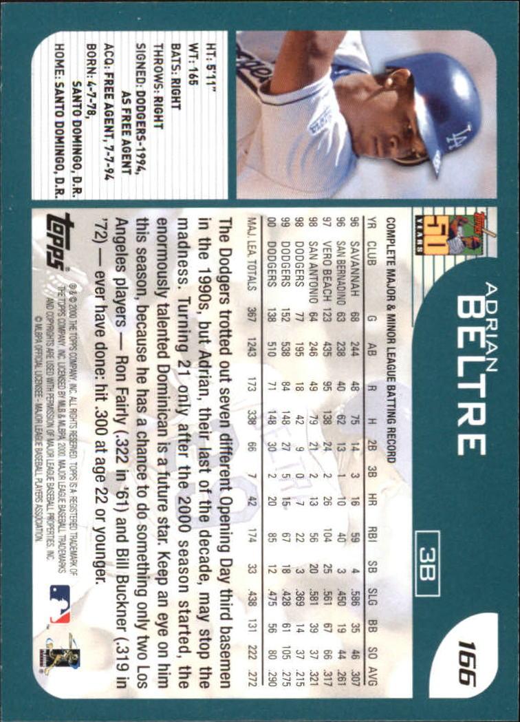 2001 Topps Home Team Advantage #166 Adrian Beltre back image
